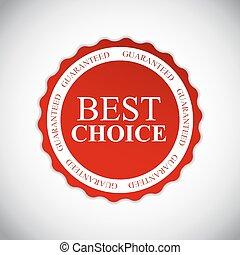 mejor, opción, dorado, etiqueta, vector, ilustración