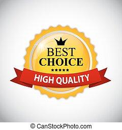 mejor, opción, etiqueta, con, cinta, vector, ilustración