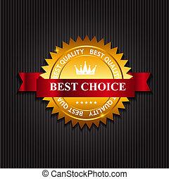 mejor, opción, etiqueta, con, ribbon., vector, ilustración