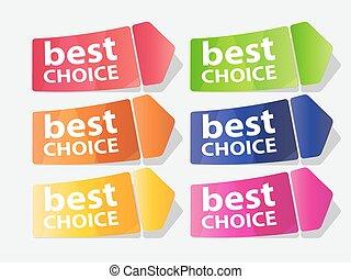 mejor, opción, etiqueta, vector, ilustración