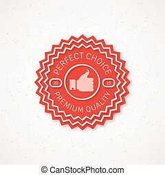 mejor, opción, etiqueta, vector, ilustración, con, pulgar up, icono