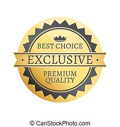 mejor, opción, exclusivo, prima, vector, ilustración