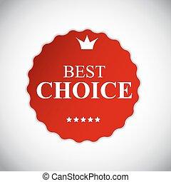 mejor, opción, rojo, etiqueta, con, cinta, vector, ilustración