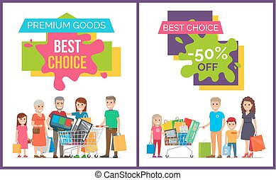 mejor, opción, y, prima, bienes, vector, ilustración