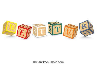 mejor, palabra, escrito, bloques