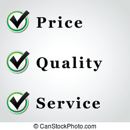 mejor, precio, calidad, y, servicio, ilustración
