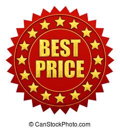 mejor, precio, garantía, rojo, y, oro, etiqueta