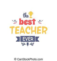 mejor, profesor, siempre, vector, ilustración