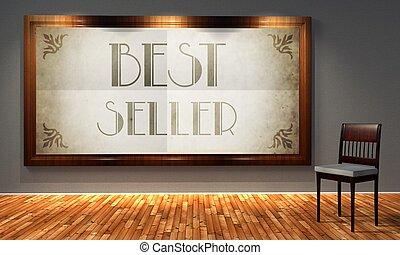 mejor, vendedor, vendimia, publicidad, retro, interior