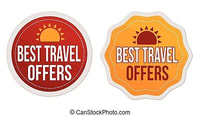 mejor, viaje, ofertas, pegatinas, conjunto