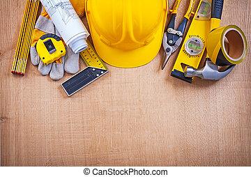 mejora, tabla, albergue construcción, de madera, herramientas, roble, concepto