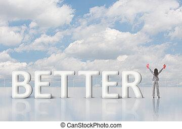 mejorar, concepto, alza, aumento