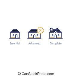 mejorar, opción, comparación, más pequeño, casas, más grande...