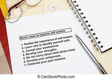 mejorar, siete, materiales, estima, maneras, sí mismo, taller