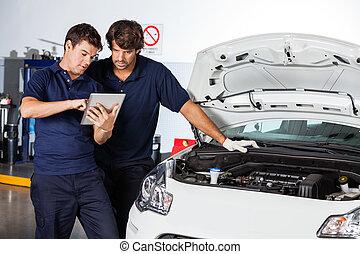mekanik, beskadig, tablet, automobilen, computer, bruge