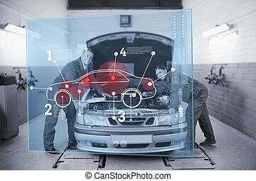 mekanik, læne på, en, automobilen, kigge kamera hos