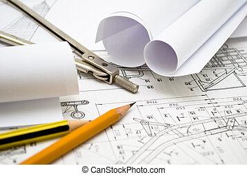 mekanik, plan, og, redskaberne