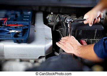 mekaniker, arbete, in, bil reparera, garage
