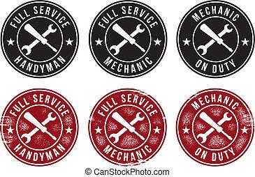 mekaniker, handyman, tjeneste, frimærker