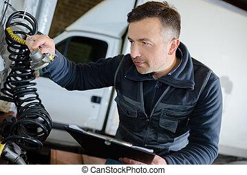 mekaniker, hos, den, reparation bilverkstad