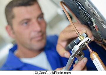 mekaniker, hos, pliers