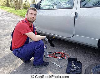 mekaniker, køretøj, sammenbrud