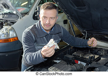 mekaniker, reparation, bil, in, garage