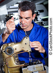 mekaniker, reparation, industriell, sömnad maskin