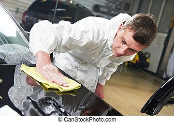 mekaniker, reparation, och, polering, bil, billykta