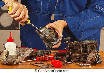 mekaniker, reparation, särar, av, självgående, motor, in,...
