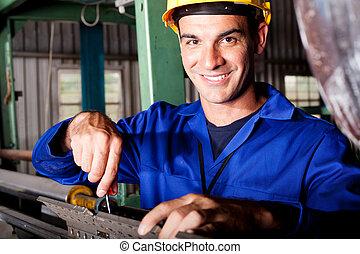 mekaniker, reparation, tung, industri, maskin