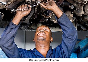 mekaniker, reparere, automobilen