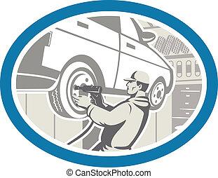 mekaniker, skiftande, bil, däck, reparera, retro