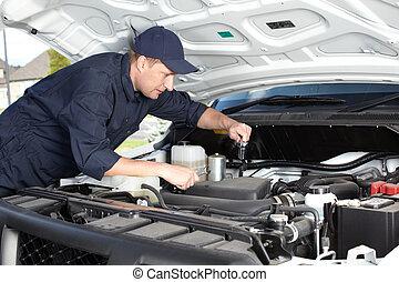 mekaniker vogn, arbejder, ind, automobil reparer, service.