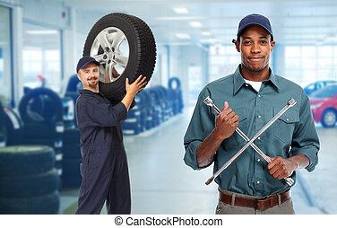 mekaniker vogn, hos, dæk, wrench.