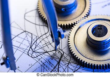 mekanisk, ratchets, dividers, og, indkaldelse