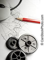 mekanisk, ratchets, indkaldelse, og, mus