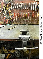 mekanisk, værksted, redskaberne