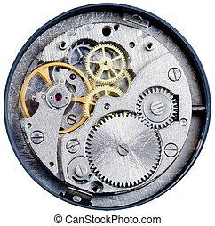 mekanism, av, gammal, mekanisk, ur