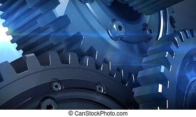 mekanismer, i, metal, flytte