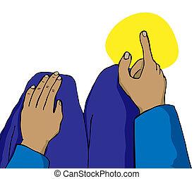 mekka, gegen, finger, zeigt