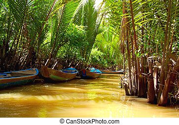 Mekong Delta - waterway through jungle and boats - Small ...