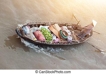 mekong, hagyományos, csónakázik, piac, vietnam, úszó, folyó,...