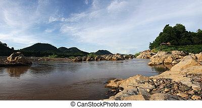 panoramic of the Mekong river in laos