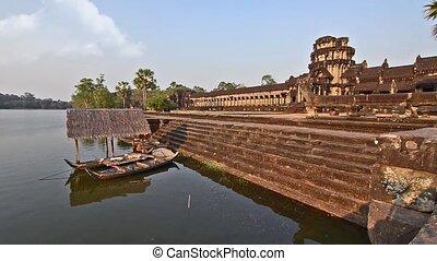 mekong river and angkor wat temple - Cambodia. Traditional ...