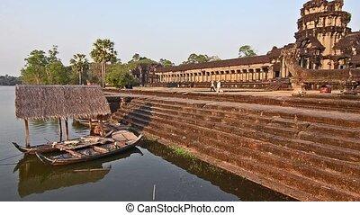 mekong river - Cambodia. Traditional boats. Mekong river and...