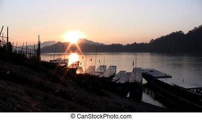 Mekong river sunset timelapse