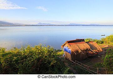 mekong rivière, à, levers de soleil, pakse, -, laos