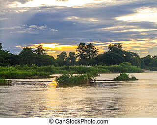 mekong, soir, rivière, temps