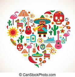 meksyk, miłość, -, serce, z, komplet, od, wektor, ikony